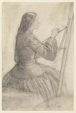 Dante Gabriel Rossetti drawing of (1828 - 1882), Elizabeth Siddal seated at an easel, painting,